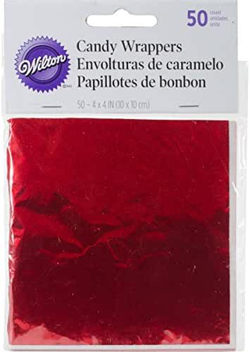 Wilton 1904-1198 Foil Wrappers, 4-Inch by 4-Inch, Red, 50-Pack