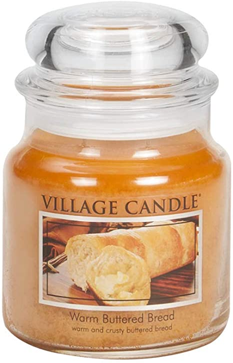 Village Candle Warm Buttered Bread Medium Glass Apothecary Jar Scented Candle 13 75 Oz Brown Amazon Ca Home Kitchen
