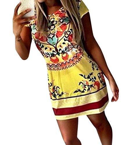 Coolred-femmes Impression Mince Fleur Manches Courtes Blouse Moulante Mini Robe En Image