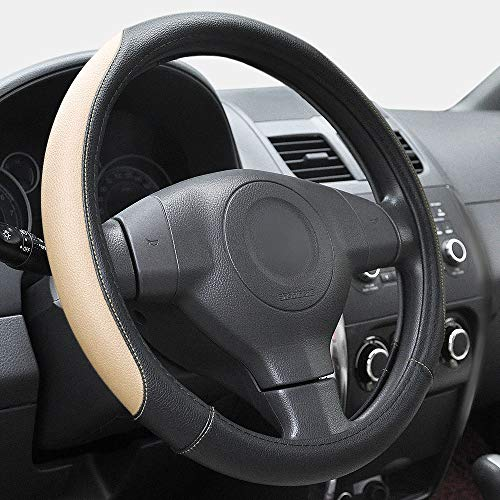 Elantrip Universal Microfiber Leather Steering Wheel Cover 14 1/2 inch to 15 inch for Car Auto, Truck, SUV, Anti Slip Odorless Tan (Beige)