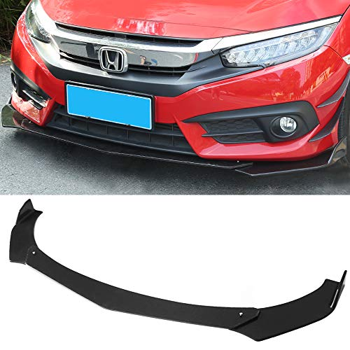 Racing Front Splitter - DTOUCH RACING Universal Fit Front Bumper Lip Black Splitters Winglets Canards (6042#Black)