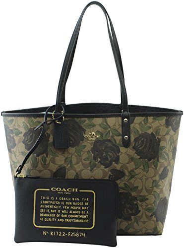Coach Women's IM Khaki Black Multi Rose Floral Print Reversible City Tote, Style F25870 by Coach