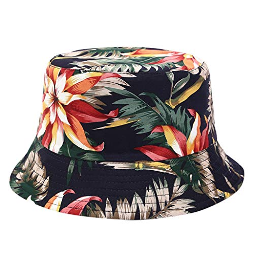 iLXHD Men Women Fishing Hat Printing Double-Sided Wearing Visor Travel Folding Basin Fishing Hat ()