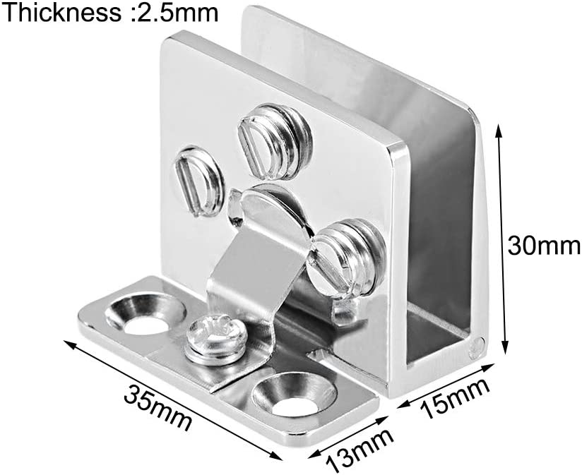 per 5-8mm Spessore vetro 2pz sourcing map Vetro cerniera sportello armadio armadio vetrina cerniera porta chiusura vetro,lega zinco