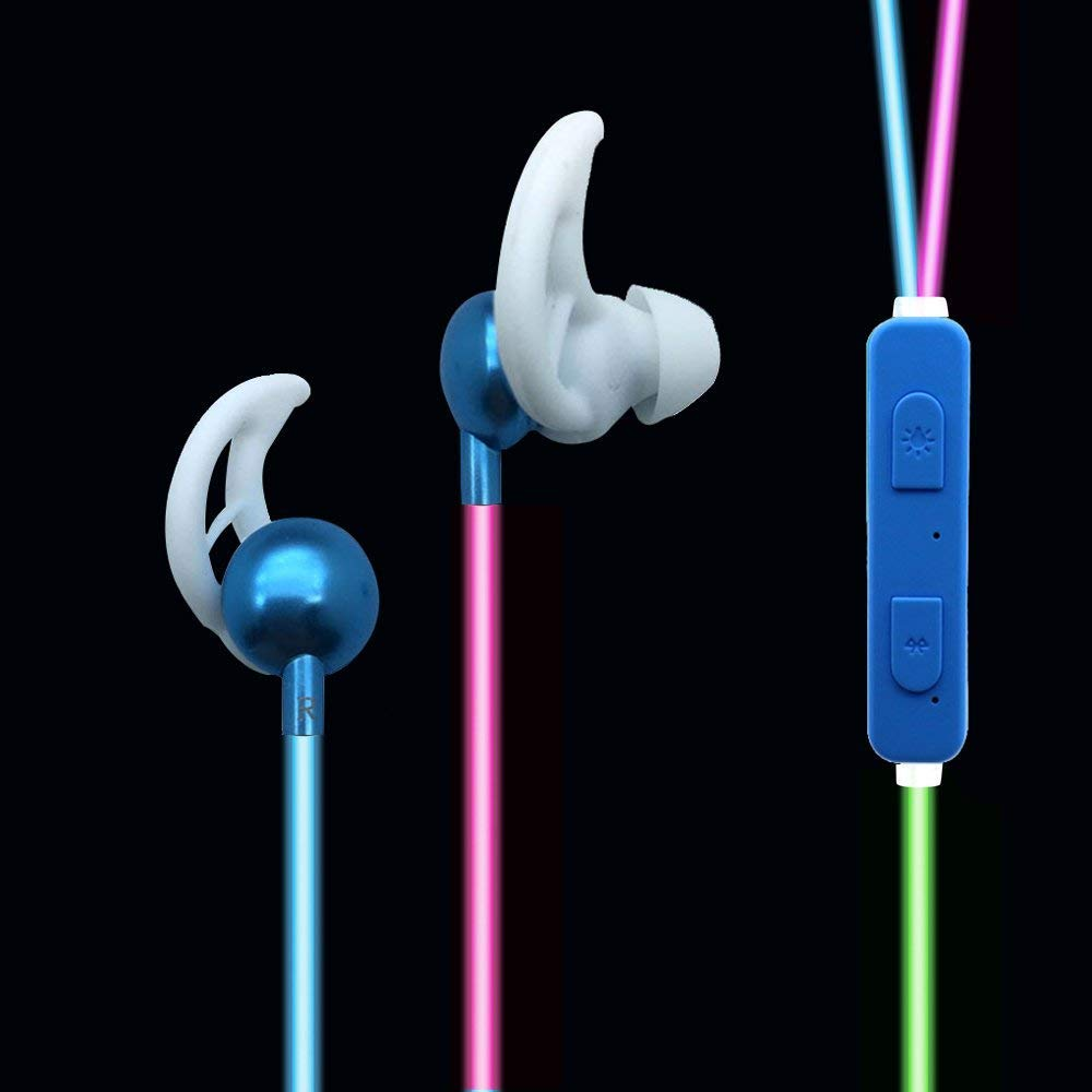 b1409cc00e5 Amazon.com: LED Bluetooth Headphones Light up Sport Glow in the Dark Mobile  Phone Color Changing Wireless Earphones for All Mobile Phones: Cell Phones  & ...