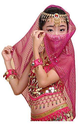 Dancing Dolls Halloween Costumes (Children's belly Indian dance show costumes suit, bracelet+necklace+scarf yarn+headdress+earrings+upper garment+waist chain (rose red))