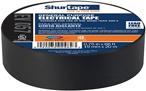 - Shurtape EV 57 General Purpose Colored Vinyl Electrical Tape, UL Listed/CSA Approved, 7.0 Mil, Black, 3/4 Inch x 66 Feet, 1-Roll (200782)