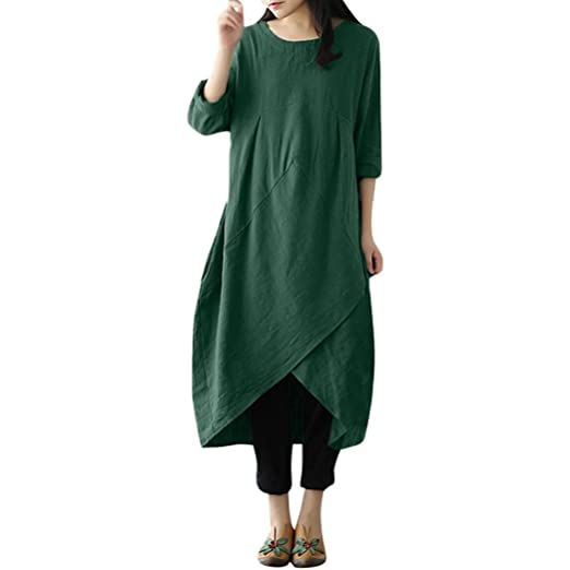 4207ac55ef86 Women Linen Cotton Long Maxi Dress Vintage Long Sleeve Baggy Tunic Plus Size  (Army Green