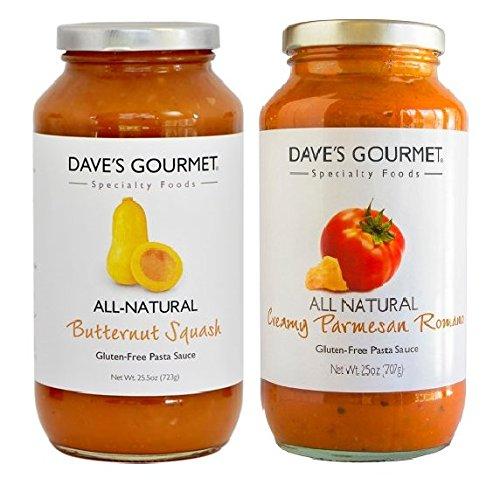 Dave's Gourmet Pasta Sauce 2- Flavor Variety Pack, Butternut Squash, Creamy Parmesan Romano, 25.5 oz Jars (Pack of 2) ... ()
