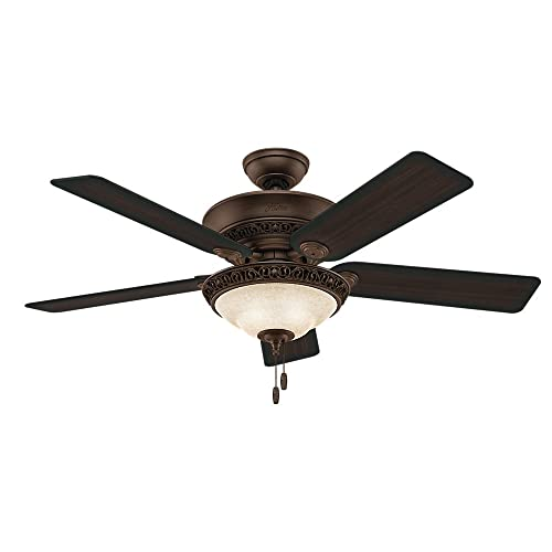 Hunter Fan Company Hunter 53200 Transitional 52 Ceiling Fan from Italian Countryside collection in Bronze Dark finish, P.A. Cocoa
