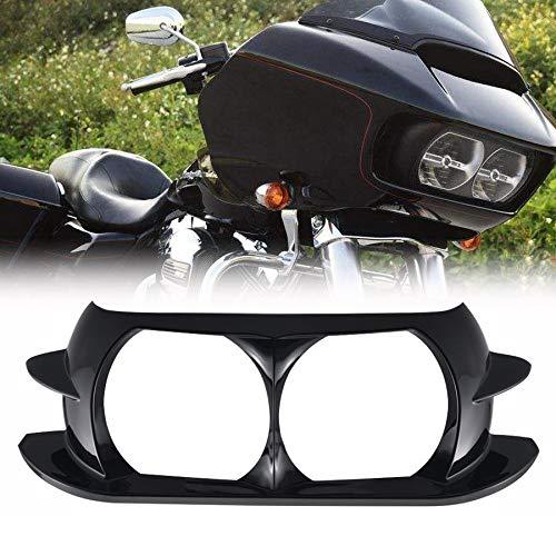Motorcycle Front Headlamp Headlight Trim Outer Fairing Cover Frame Bezel Scowl Surround for Harley Road Glide FLTR 2015-2019 (Black)