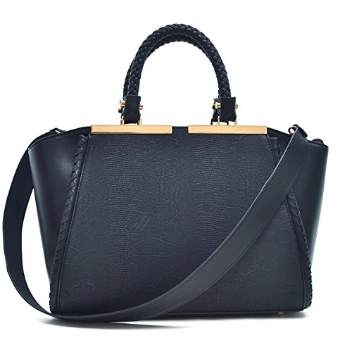 dasein-women-fashion-structured-faux-leather-satchel-two-tone-lizard-skin-accented