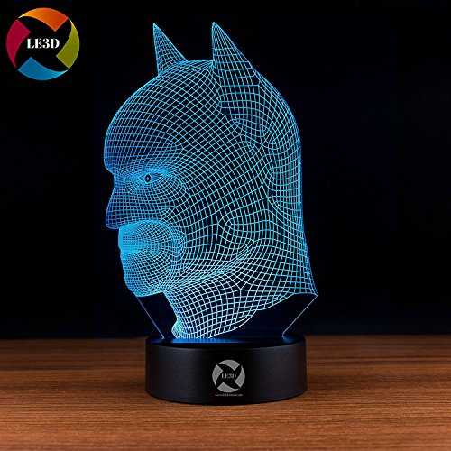 (3D Optical Illusion Night Light - 7 LED Color Changing Lamp - Cool Soft Light Safe For Kids - Solution For Nightmares - DC Comics Justice League Batman Mask)