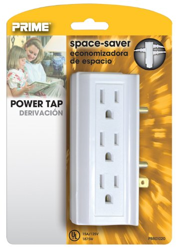 Prime PB801020 6 Side-Outlet Space-Saver Power Tap, White