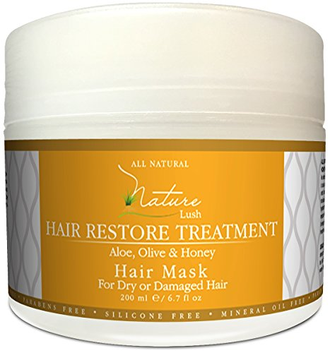 Nature Lush Hair Mask with Honey, Aloe Vera & Olive Oil – Deep Conditioner - Restore Dry, Damaged or Color Treated Hair After Shampoo, Best for All Hair – Parabens & Silicones Free – 6.7 fl oz.
