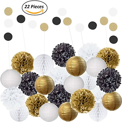 Amazing 22Pcs Mixed Black Gold & White Party Decorations By Epique Occasions: Set of Hanging Tissue Paper Pom Poms, Lanterns & Balls For Birthday Celebrations, Wedding Décor, Table & Wall Decorations (Wedding Decorations Wall)