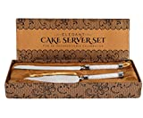 Cake Knife And Server Set With Glittering Bead Handles – Packaged in a Gift box-Top Gift Idea!- Elegant Stainless Steel Silverware For Weddings, Birthdays, Anniversaries