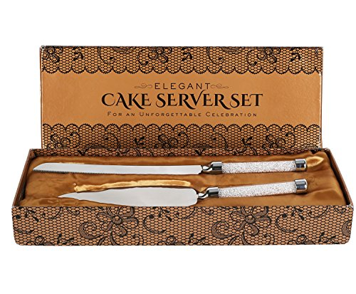 Cake Knife And Server Set With Glittering Bead Handles - Packaged in a Gift box-Top Gift Idea!- Elegant Stainless Steel Silverware For Weddings, Birthdays, (Bead Wedding Cake Knife)