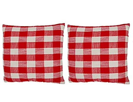 Ruth& Boaz Cotton Block Check Decorative Throw Pillow Case Cushion Cover (16X16, RED*WHITE)