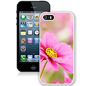 Beautiful Unique Designed iPhone 5S Phone Case With Pink Dahlia Macro Flower_White Phone Case