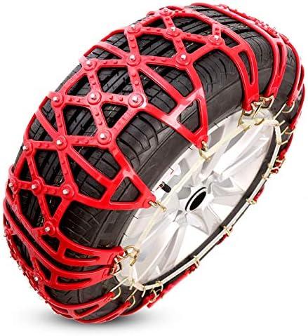 タイヤチェーン スノーチェーンマウント救急車トラクションスノータイヤチェーンへの容易なポータブルタイヤ用アンチスキッドスノーチェーンを-145/70 R12 (Color : Red)