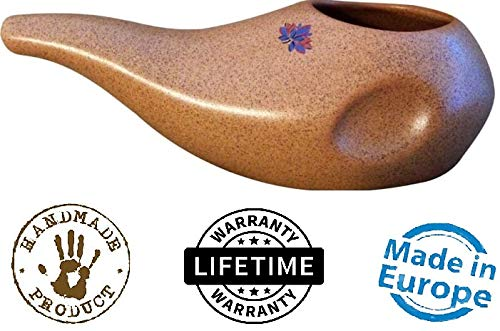 Sattvic Path Ergonomically Designed Hand-made Ceramic Neti Pot, Clay Brown