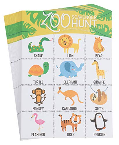 (Kids Scavenger Hunt Cards - 50-Pack Zoo Animals Theme, Find up to 12 Animals, Fun Outdoor Family Activity Game for All, Jungle Safari Party Favors, 5 x 7)