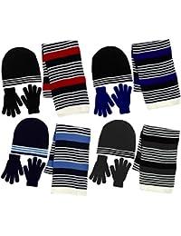 Boy's 3 Piece Knit Hat, Scarf & Gloves Set