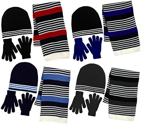 Hat Kids Red Gloves (Boy's 3 Piece Knit Hat, Scarf & Gloves Set (Black-Red))