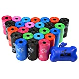 500 Pet Waste Bags, Dog Waste Bags, Bulk Poop Bags on a roll, Clean up poop bag refills - (Color: Rainbow of Colors with Paw Prints) + FREE Bone Dispenser, by Downtown Pet Supply