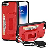 iPhone Wallet Case for iPhone 7 Plus/8 Plus TOOVREN Necklace Lanyard Case Cover with Kickstand Card Holder Adjustable Detachable Anti-Lost Neck Strap for 5.5 inch Apple iPhone 8 Plus/7 Plus Red
