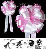 ROSE BABY PINK WHITE 8'' WEDDING PULL PEW BOWS BRIDAL