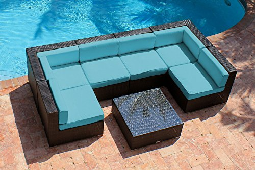 AKOYA Wicker Collection – 7 Piece Outdoor Patio Furniture Modern Sofa Couch Sectional Modular Set, Turquoise