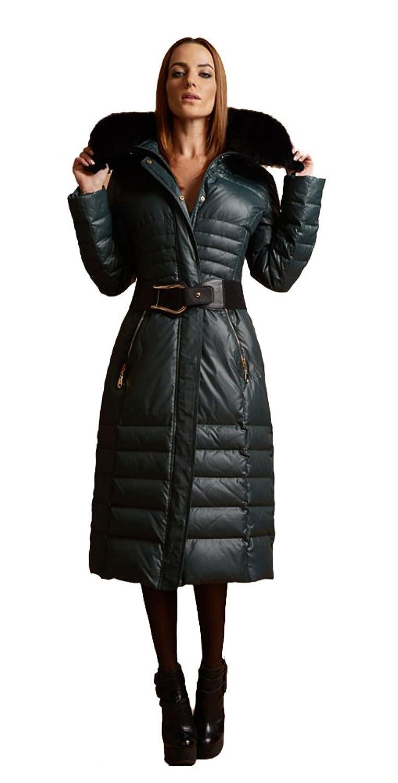 queenshiny Damen Lange Daunenjacke Mantel Jacke mit Fuchs Pelz Kragen mit Kapuze unterhalb der Knie Mode Winter