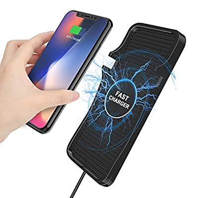 [Upgraded] Wireless car Charger, 10W Wireless Charging Mat Pad for Car, Dashboard Phone Mount, Anti-Skid Car Charging Stations for iPhone and Samsung Qi Enabled Devices