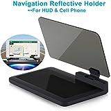 Head-up Display GPS Navigation – Bysameyee Universal Car Dash Mount Cell Phone Holder Reflective Film, Vehicle HUD Smartphone Holder Mount for iPhone Android Phones (HUD Navigation)