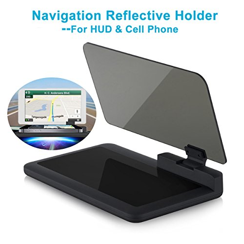 Head-up Display GPS Navigation – Bysameyee Universal Car Dash Mount Cell Phone Holder Reflective Film, Vehicle HUD Smartphone Holder Mount for iPhone Android Phones (HUD Navigation) (Dash Navigation System)