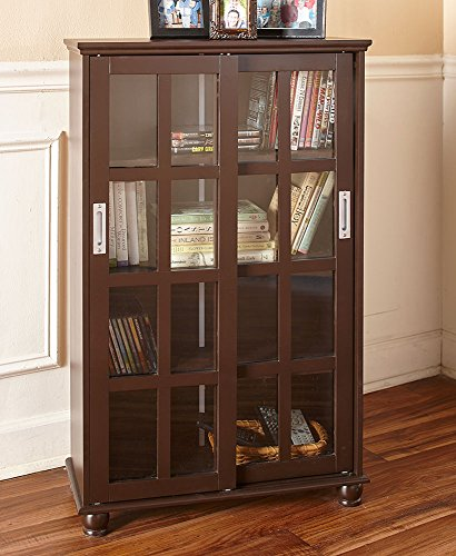 The Lakeside Collection Sliding Door Cabinet - Dark Walnut