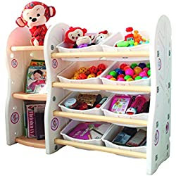 Gupamiga Toy Storage Organizer for Kids Collection Rack of Children Deluxe Plastic Bookshelf and Basket Frame Sundries with 8 Toy Organizer Bins Bins (A+B)