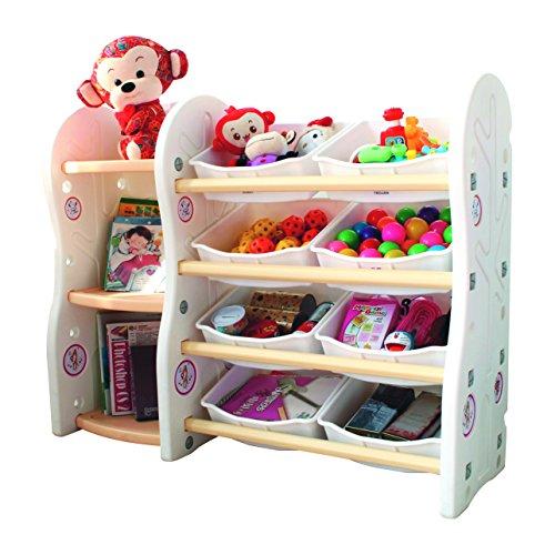 Gupamiga Toy Storage Organizer for Kids Collection Rack of Children Deluxe Plastic Bookshelf and Basket Frame Sundries with 8 Toy Organizer Bins Bins (A+B)