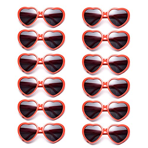 Dozen Pack Heart Sunglasses Party Favor Supplies Holiday Accessories Collection (Kids Red) -
