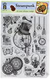 """Hot Off The Press 1193 Acrylic Stamps, 6"""" x 8"""", Steampunk, Clear"""