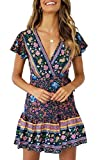 ZESICA Women's Summer Wrap V Neck Bohemian Floral Print Ruffle Swing A Line Beach Mini Dress Navy