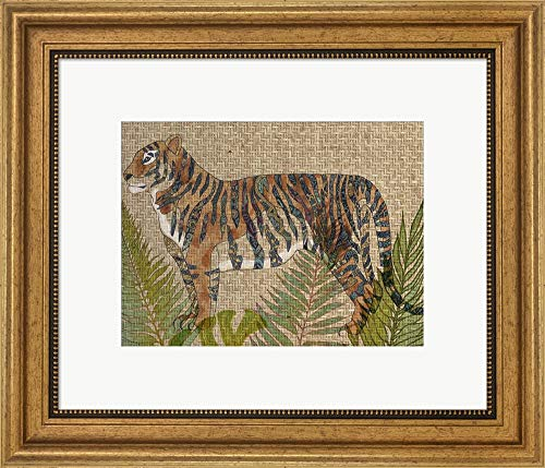 (Rattan Jungle II by Chariklia Zarris Framed Art Print Wall Picture, Wide Gold Frame, 19 x 16 inches)
