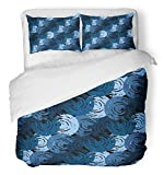Emvency Bedsure Duvet Cover Set Closure Printed Blue Thai Abstract Distressed Swirl Shapes Brushstrokes Painting Navy Boho Brush Bue Decorative Breathable Bedding With 2 Pillow Shams Full/Queen Size