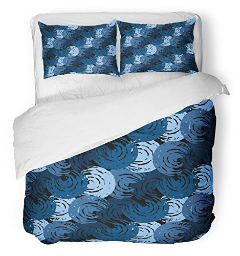 Emvency Bedsure Duvet Cover Set Closure Printed Blue Thai Abstract Distressed Swirl Shapes Brushstrokes Painting Navy Boho Brush Bue Decorative Breathable Bedding With 2 Pillow Shams Full/Queen Size by Emvency