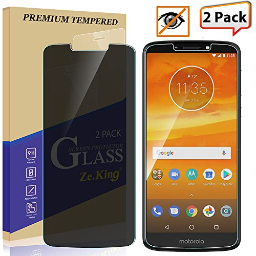 [2-Pack] Moto E5 Plus Privacy [Anti Spy] Tempered Glass, Zeking 0.33mm 2.5D Edge 9H Hardness [Anti Scratch][Anti-Fingerprint] Bubble Free, Lifetime Replacement Warranty