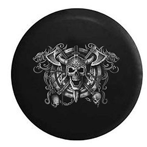 Viking Skull Shield with Chains & Dragon Spare Tire Cover Black 35 in