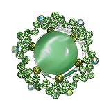 Salix Silver tone Green Crystal Scarf Clip