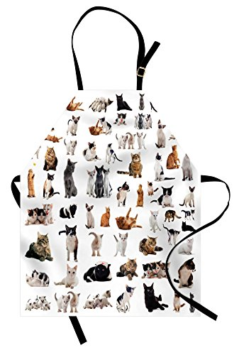 Lunarable Cat Lover Apron, Group of Cats and Kitten Lying Down Meowing Purebred Norwegian Siamese, Unisex Kitchen Bib Apron with Adjustable Neck for Cooking Baking Gardening, Marigold Grey White